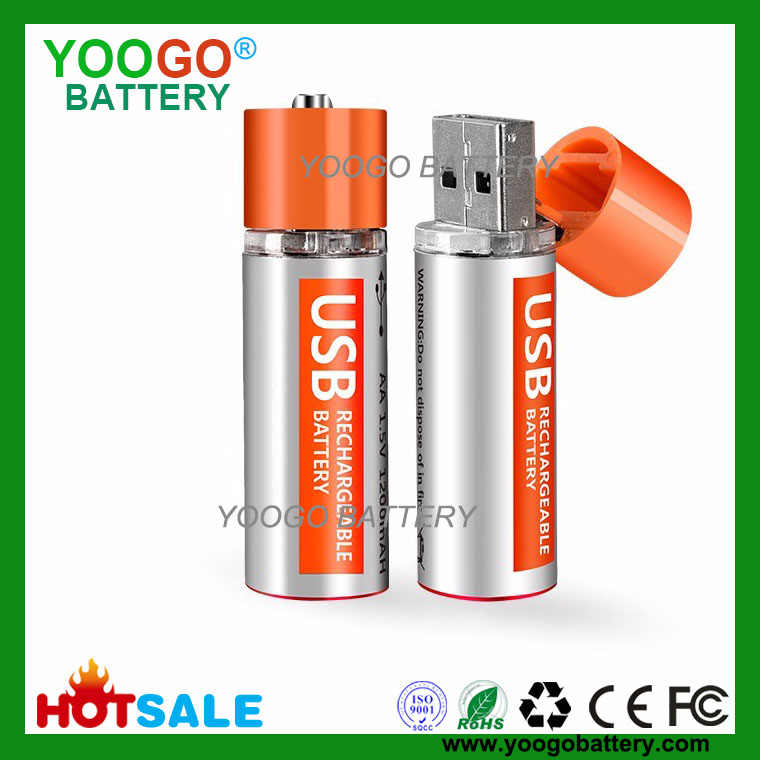 Hot sale New Lithium AA 1.5V 1200mAh USB fast charge Rechargeable Battry for Walkie talkie, Flashlight, Power Bank, Aircraft/RC toys.