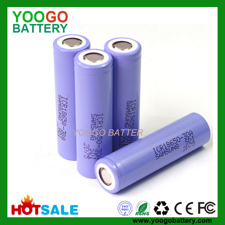 High capacity Samsung ICR18650-30A 3000mAh 3.7V rechargable li-ion battery for flashlight power bank
