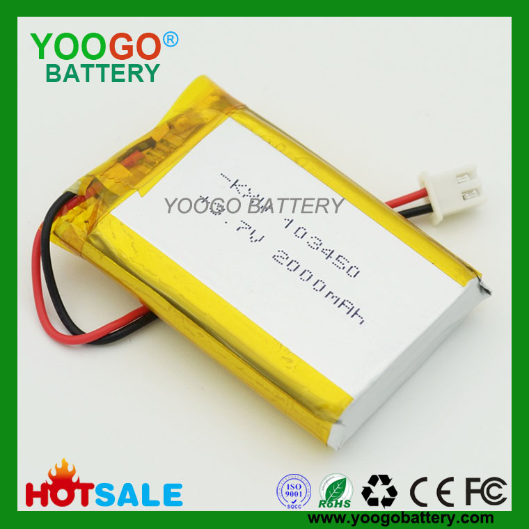 103450-2000mAh 3.7V Lithium Polymer Battery for GPS,PDA & POS Machine