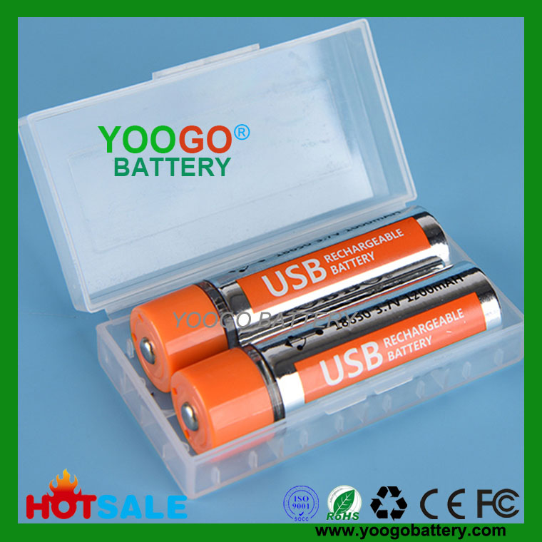 New 18650 1200mAh 3.7V Lithium USB fast charge Rechargeable Lithium polymer Battery for Flashlight, Mini Fan, Lamp, Power Bank, RC toys Hot sale