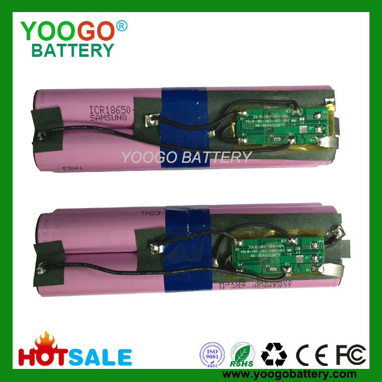 4S2P 14.8V 5200mAh high quality Vacuum cleaner lithium ion battery packs with 8 original Samsung ICR18650-26F 2600mAh cells